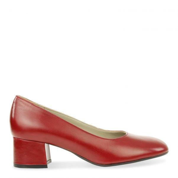 klassieke pump op lage blokhak in rood leder