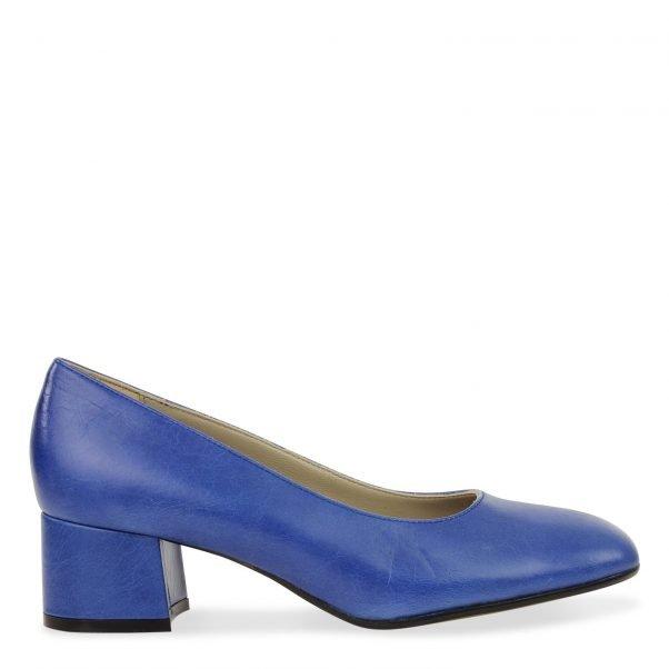 klassieke dames pump in cobalt leder