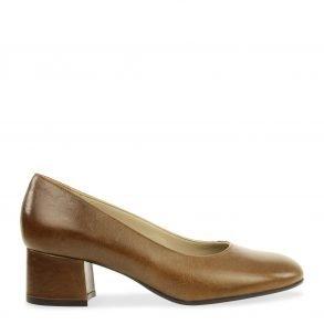 klassieke dames pump in bruin nappa leder
