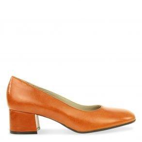 klassieke dames pump in oranje leder