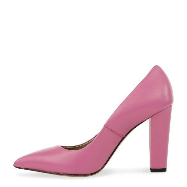spitse pump in pink nappa leder