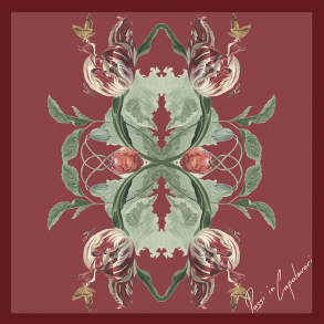 Zijden sjaal tulpen en papaver